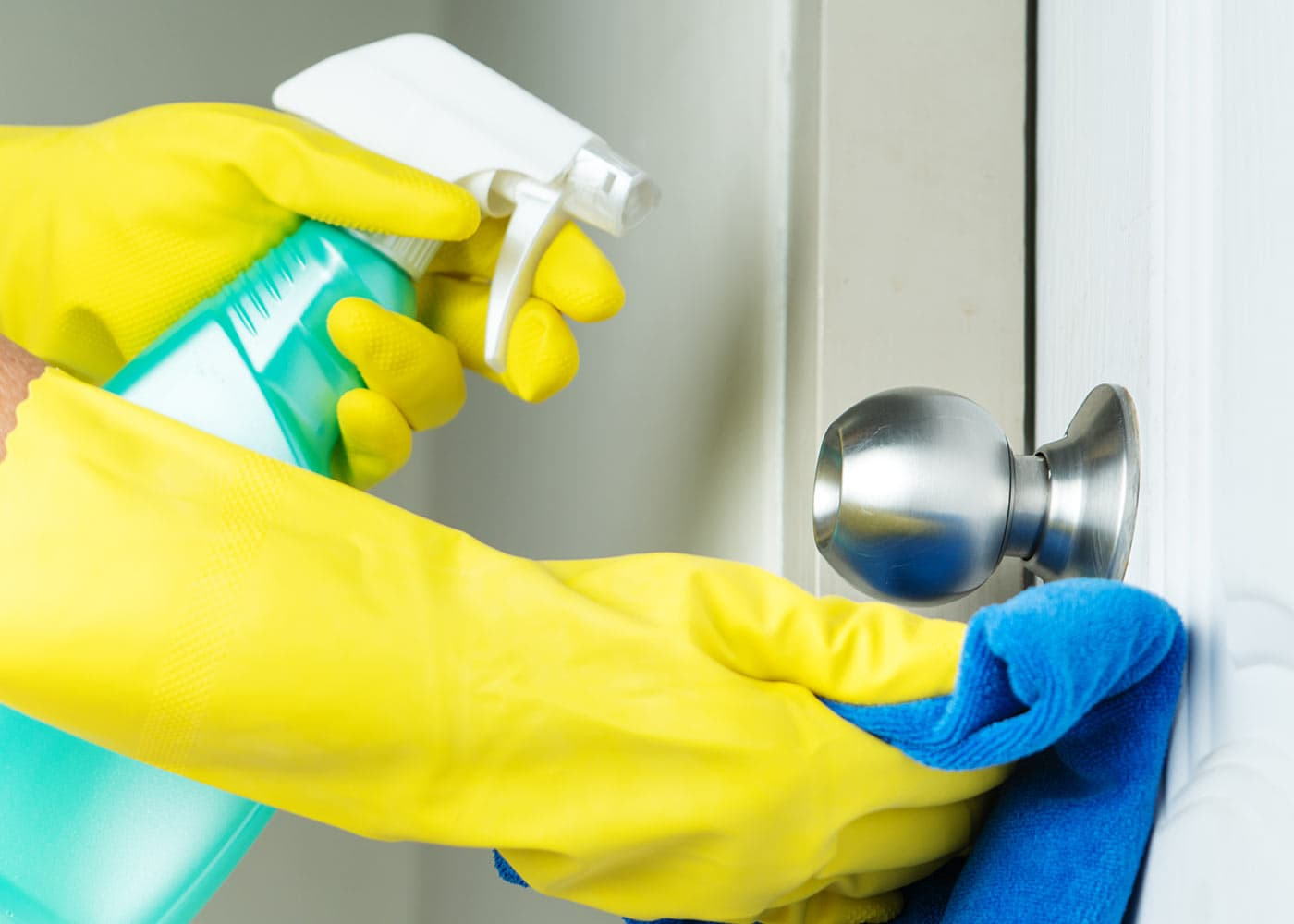 Enhanced cleaning of a doorknob