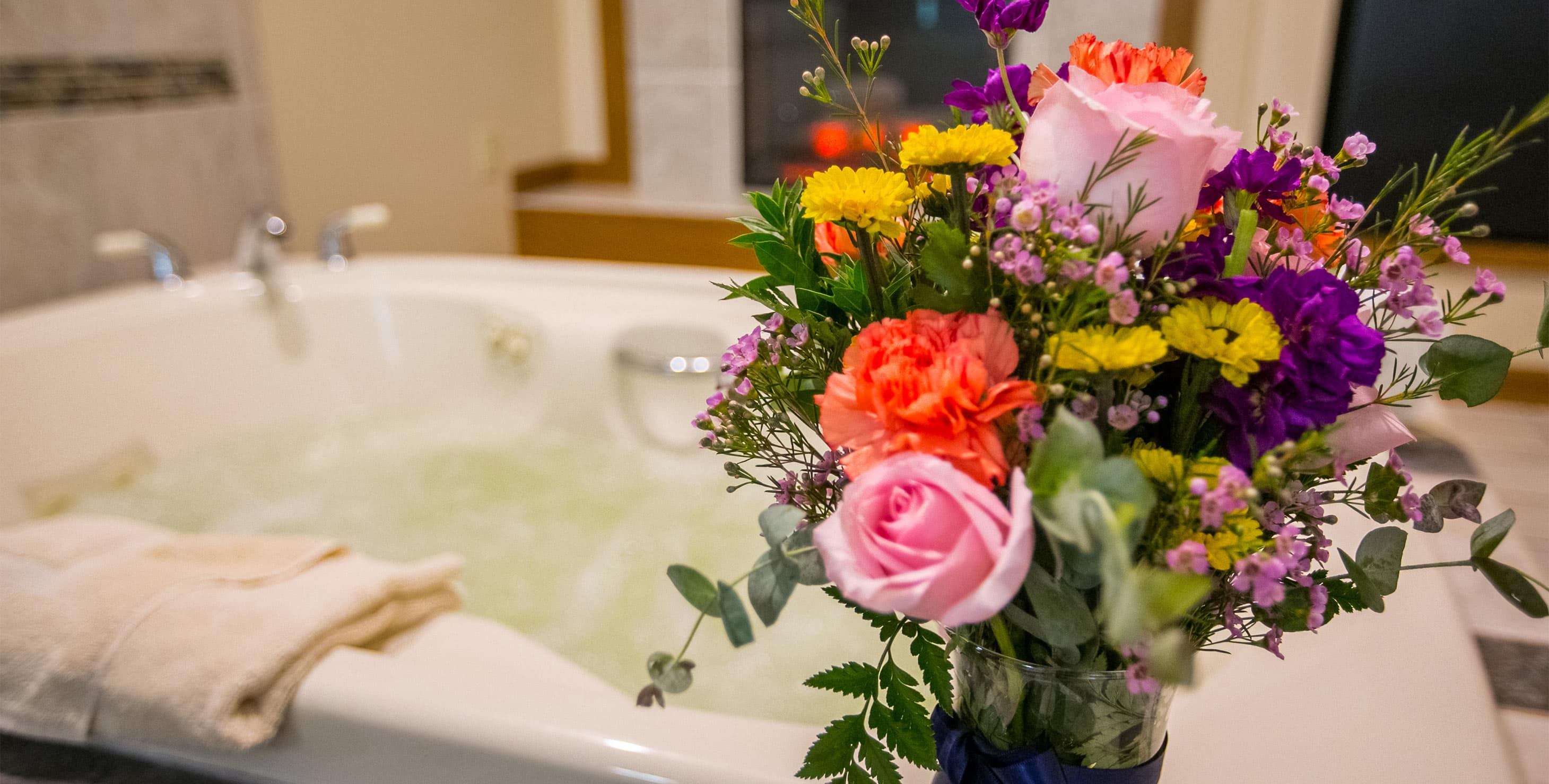 Flower Bouquet in front of a Jetted tub